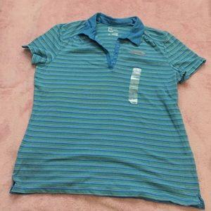 Blue Green Striped Polo